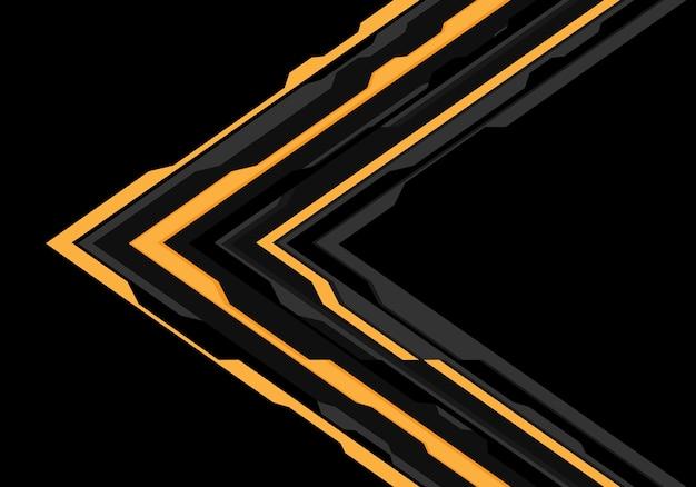 黄色の灰色の矢印黒い背景に未来の方向。