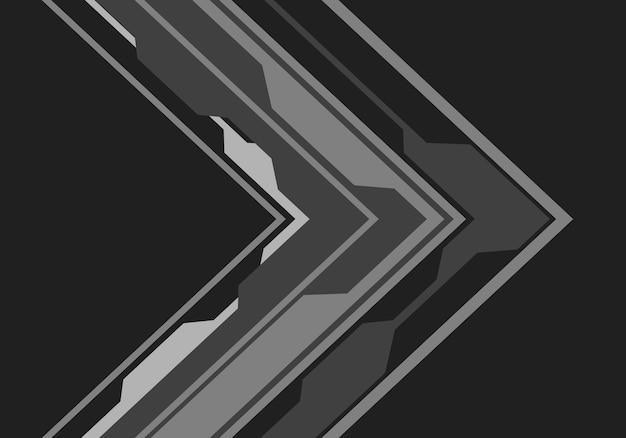 黒の背景に灰色の矢印の回路方向。