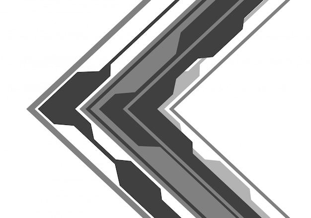 白い背景にグレーの矢印の回路方向。