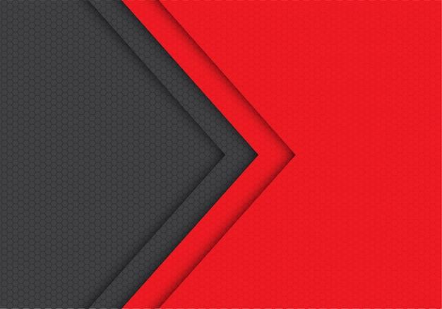 赤い灰色の矢印の六角形のメッシュパターンの方向の背景。