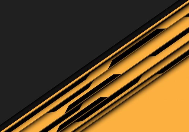 灰色の空白のスペースの背景と黄色の黒の回路。