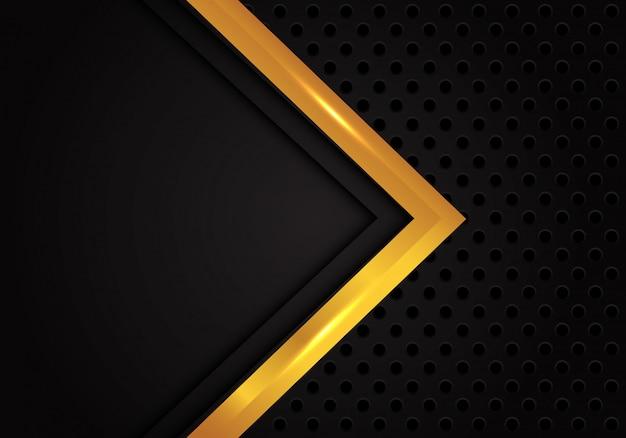 抽象的なゴールド矢印方向黒丸メッシュバックグラウンド。