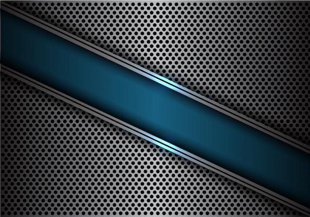 青いスラッシュバナーシルバーラインサークルメッシュバックグラウンド。