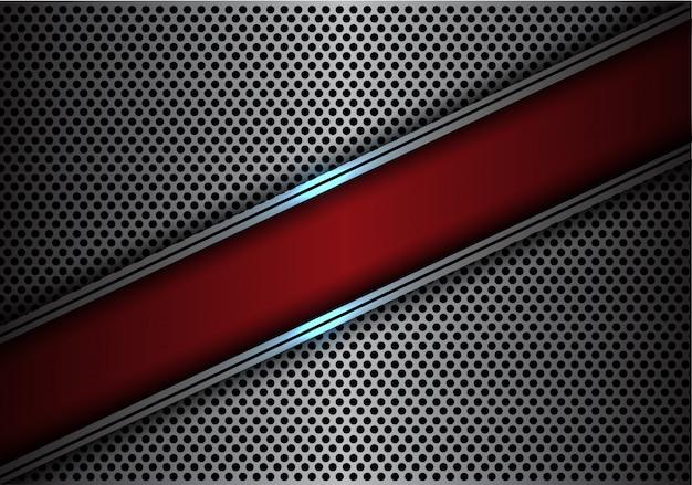 赤いスラッシュバナーシルバーラインサークルメッシュ背景ベクトル。