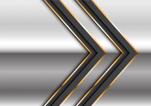 シルバーデザインモダンな未来的な背景のベクトル図に抽象的なツインブラックゴールドライン矢印。