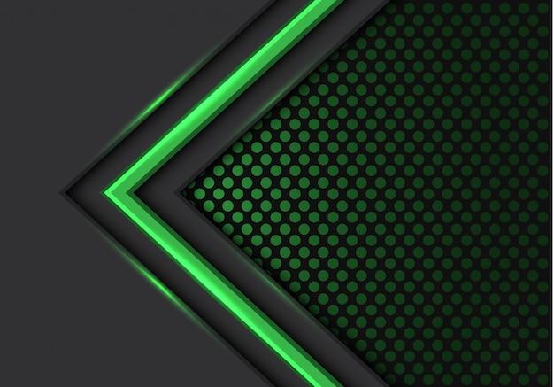 緑色の光の矢印方向暗い円メッシュバックグラウンド。