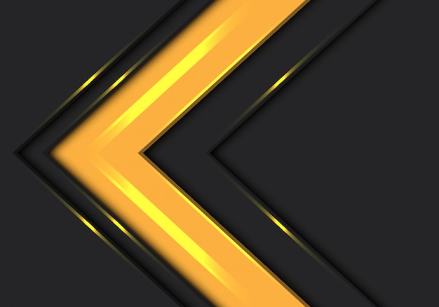 濃い灰色の背景に黄色の矢印方向の速度。