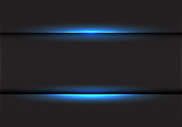 暗い六角形のメッシュバックグラウンドに青い光。