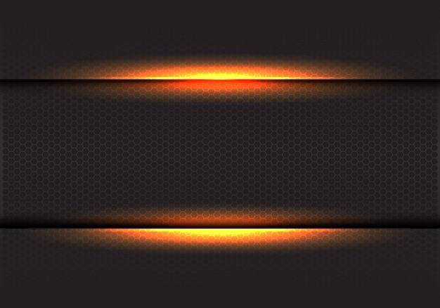 暗い六角形メッシュ背景に黄色の光。