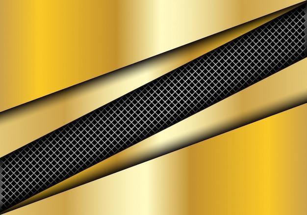 ゴールドプレートバックグラウンドで金属製の正方形メッシュスラッシュ。
