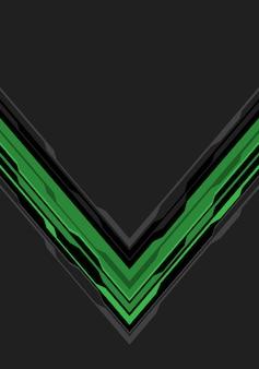 灰色の空白スペースの背景に緑色の黒い矢印回路。