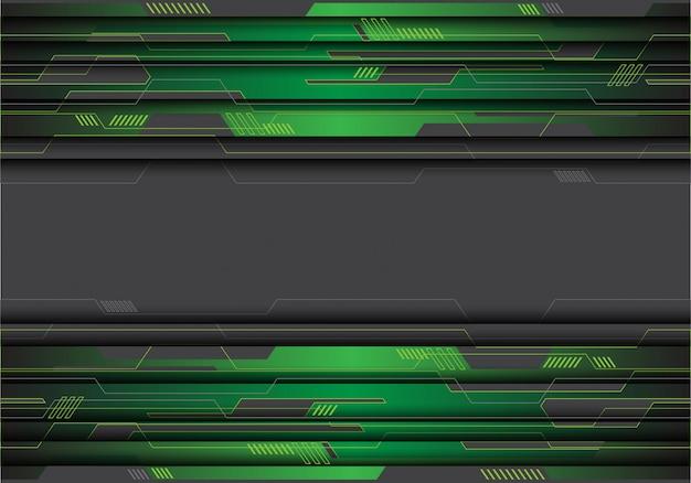 灰色の未来的な背景に緑色の金属回路。