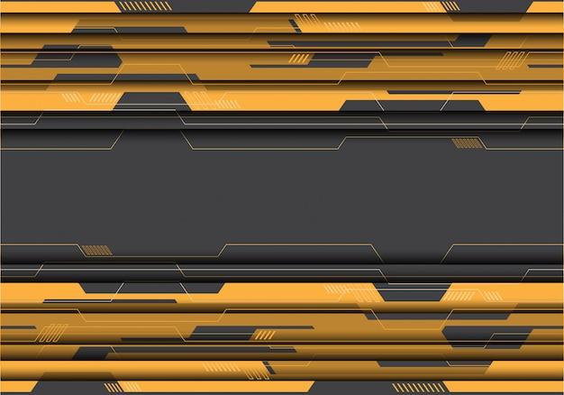灰色の未来的な背景に黄色の回路。