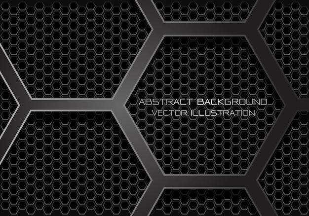抽象的な暗い灰色の六角形は、メッシュの背景に重なります。