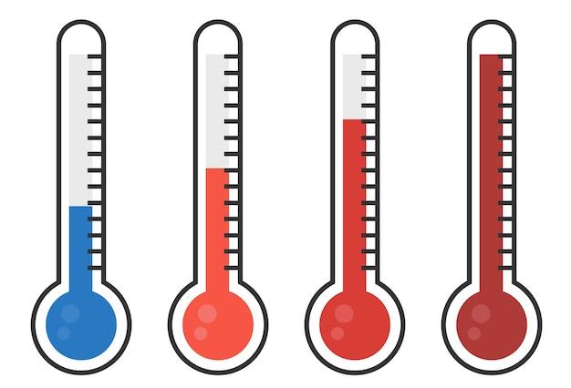 さまざまなレベルの赤い温度計の図