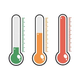 さまざまなレベルの赤い温度計の図。