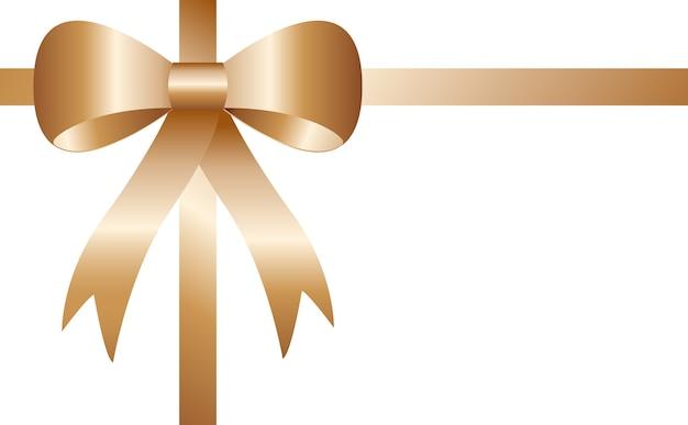現実的なバラの金の弓は、白い背景に