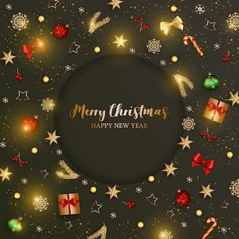 С рождеством открытка с блестящими элементами