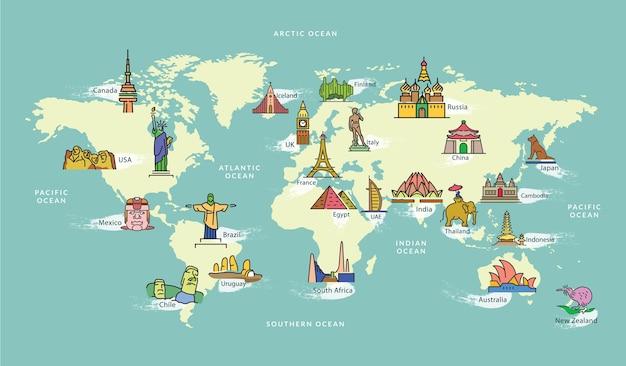 有名な国シンボルのランドマークのある世界地図