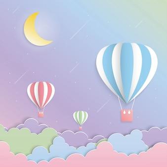 カラフルな風船と月の紙