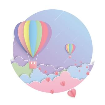 カラフルな風船と月の紙アートベクトル