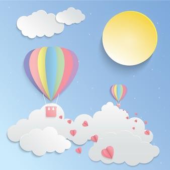 カラフルな風船とピンクのハートペーパーアートのベクトル