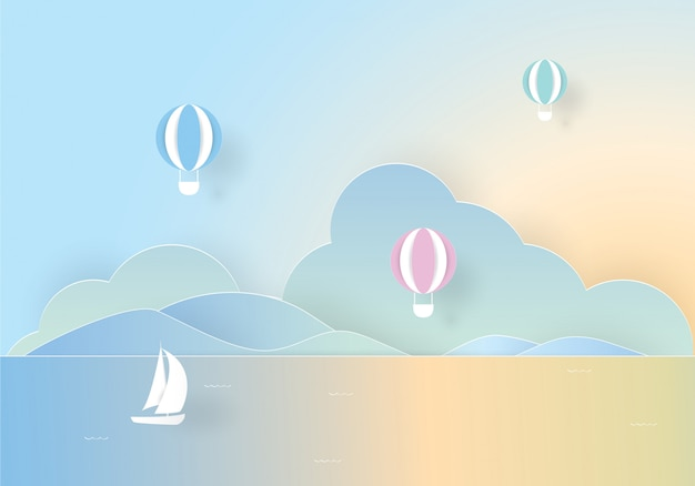海に浮かぶカラフルな熱気球、ペーパーカット