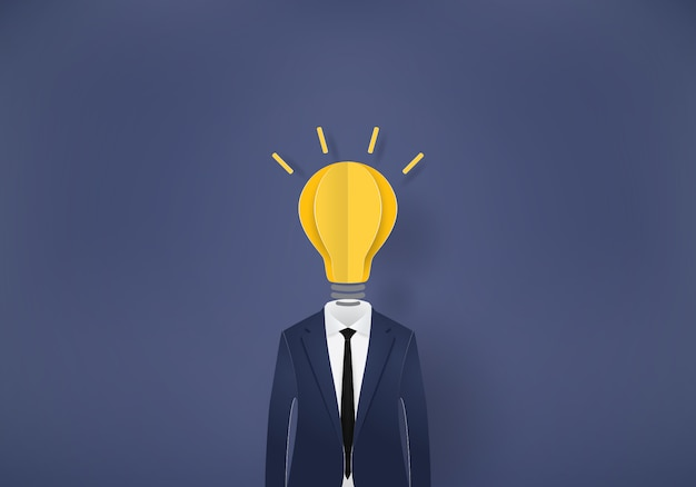ビジネスマン電球、紙カット