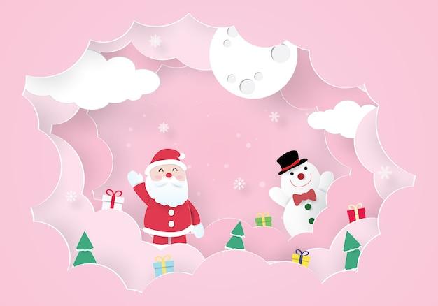 クリスマスのお祝い、新年あけましておめでとうございます、サンタクロースと雪だるま