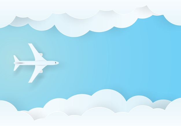 Самолет, летящий в небе