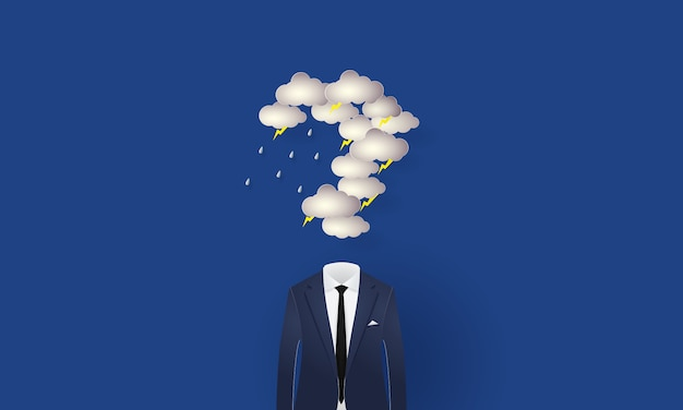 Бизнесмен под вопросительным знаком в форме дождевых облаков и освещения, концепция вдохновения бизнес, вырезать из бумаги