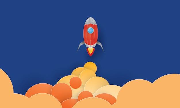 ロケット打ち上げ、スタートアップコンセプト、ペーパーアート、ペーパーカット、クラフトベクトル
