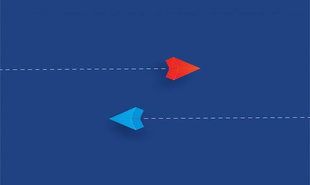 別の方向、インスピレーションビジネスで飛んでいる紙飛行機の紙
