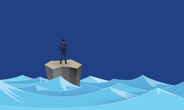 Бумага искусства бизнесмена смотреть на море, концепция вдохновения бизнес