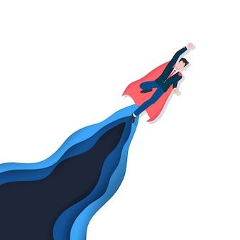 成功、達成および勝者のためのヒーロー概念としてのビジネスリーダーシップ