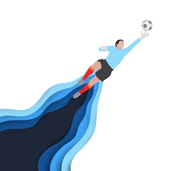 ゴールキーパーとしてのサッカーのフットボール選手の芸術はボールを救おうとします。