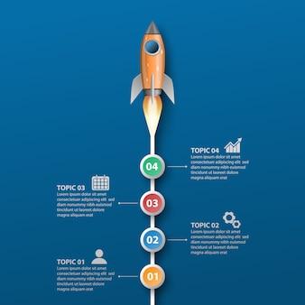 Запуск ракеты, инфографики шаблон