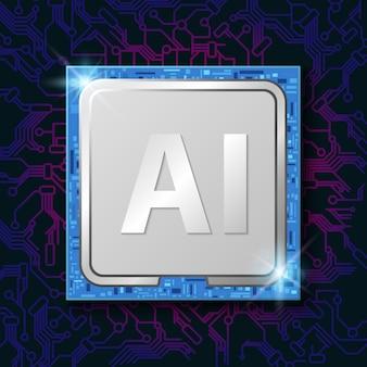 Искусственный интеллект (ии) на чипе процессора электронный