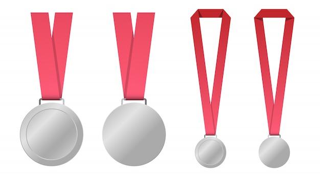 赤いリボンテンプレートで空白のメダルのセット