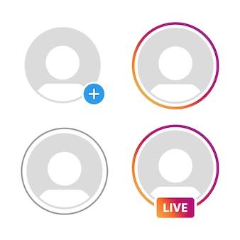 ソーシャルメディアアイコンアバター、ストーリー、ライブビデオストリーミング
