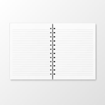 白い背景に分離されたスパイラルクラフト紙ノートモックアップテンプレートのトップビュー