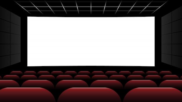 空白の画面と赤い座席の映画館