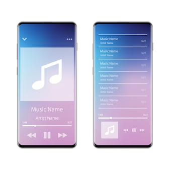 スマートフォンの音楽プレーヤーインターフェースアプリケーション