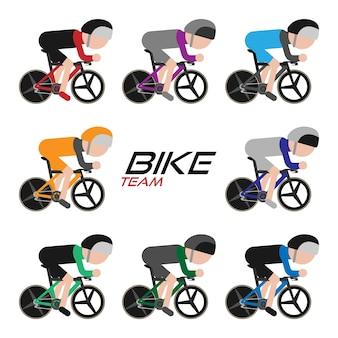 サイクリングチーム、サイクリングツアーアイコンセット、ベクトルイラスト