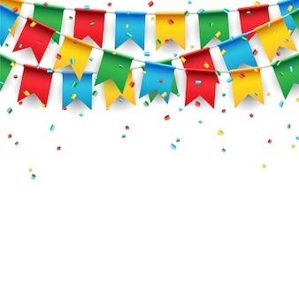 白い背景にパーティーのお祝いの旗