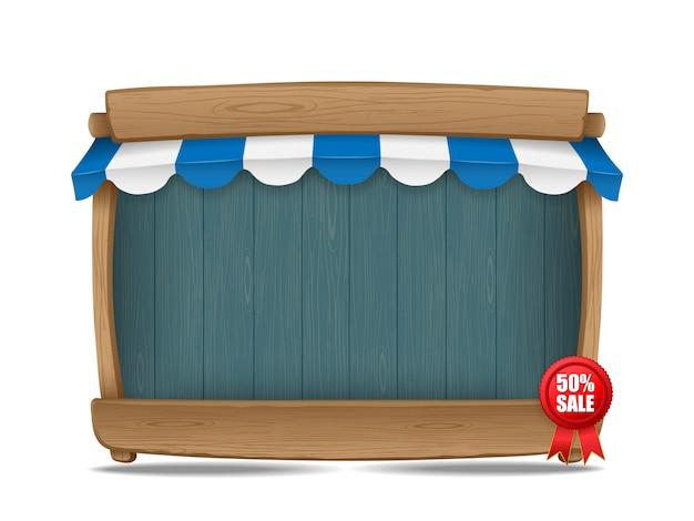 Деревянная рыночная прилавок с тентом, векторная иллюстрация