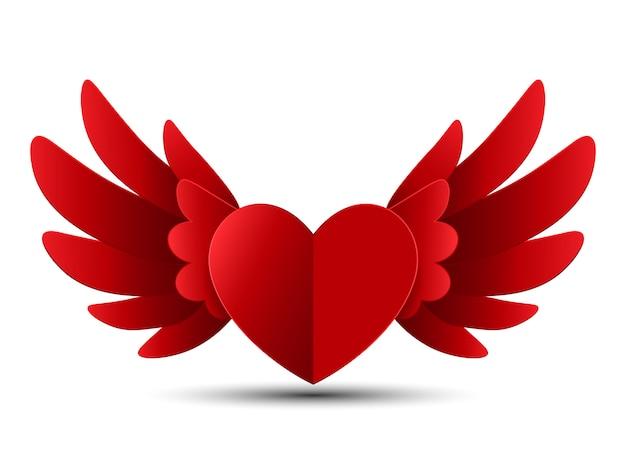 Валентина красное сердце с крыльями