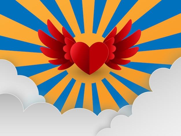 空を飛んでいる赤いハートと幸せなバレンタインの日カード