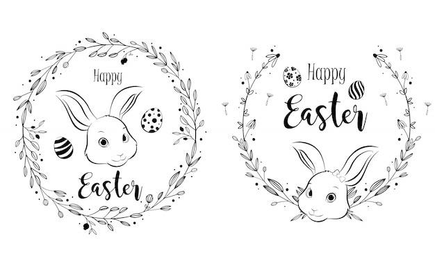 フローラルリースフレームとハッピーイースターのウサギ、手描きのスタイル。
