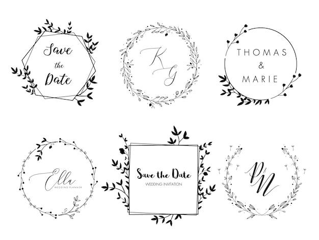 結婚式招待状フローラルリースミニマルデザイン。